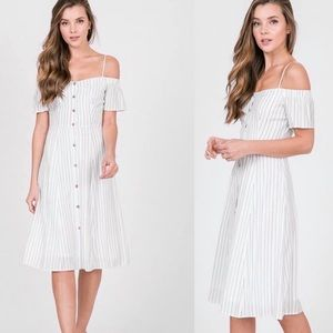 Brand New White Pin Striped Off The Shoulder Dress